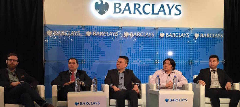MaiCoin CEO Alex Liu 在香港巴克萊銀行舉辦的Barclays Fintech Day 演講