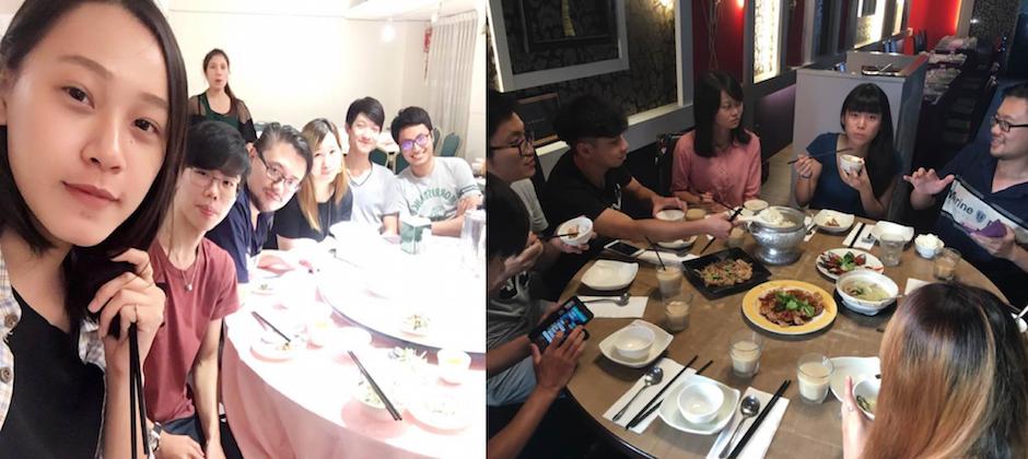 大家就像個大家庭一樣,常常吃很爽的員工聚餐