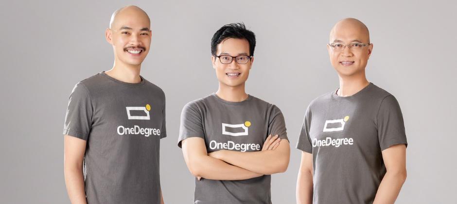 由左至右分別為:OneDegree共同創辦人梁德源、OneDegree共同創辦人郭彥麟、OneDegree行政總裁李俠恩