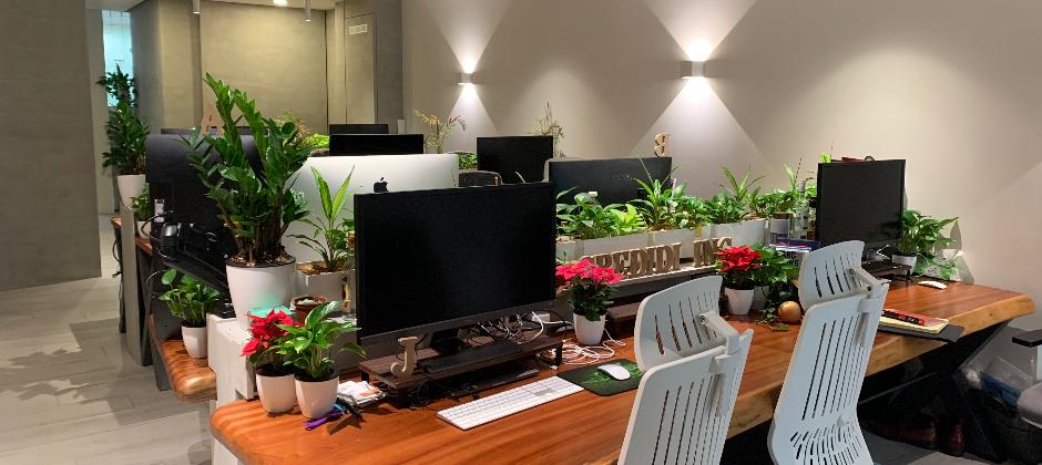 水滴辦公室,我們有這綠意盎然的工作環境,隨時飄著星巴克咖啡香。每個人搭配最新 Macbook Pro以及 28 寸外接大螢幕。